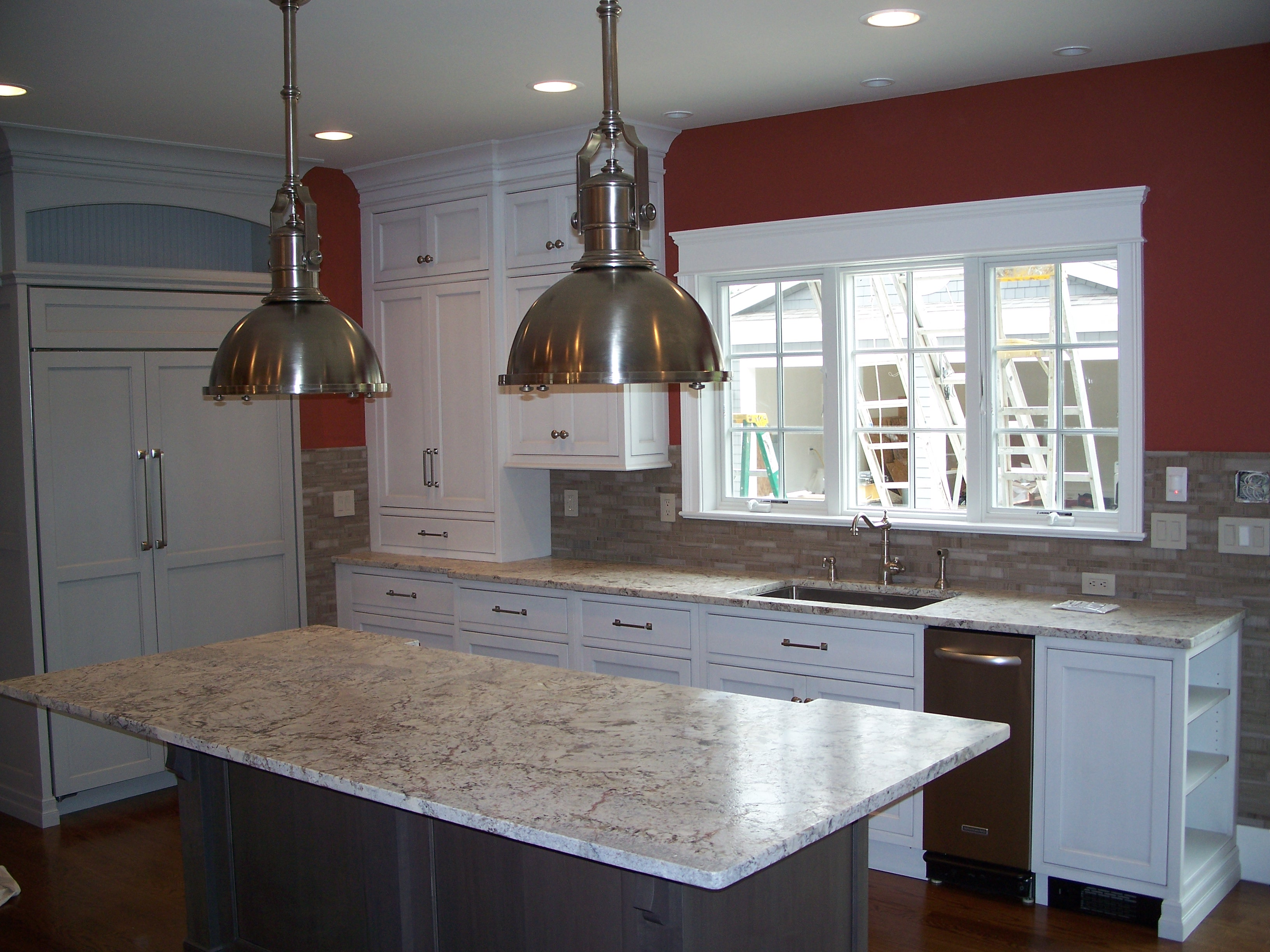 White Spring Leathered Finish Granite Kitchen Countertops ...