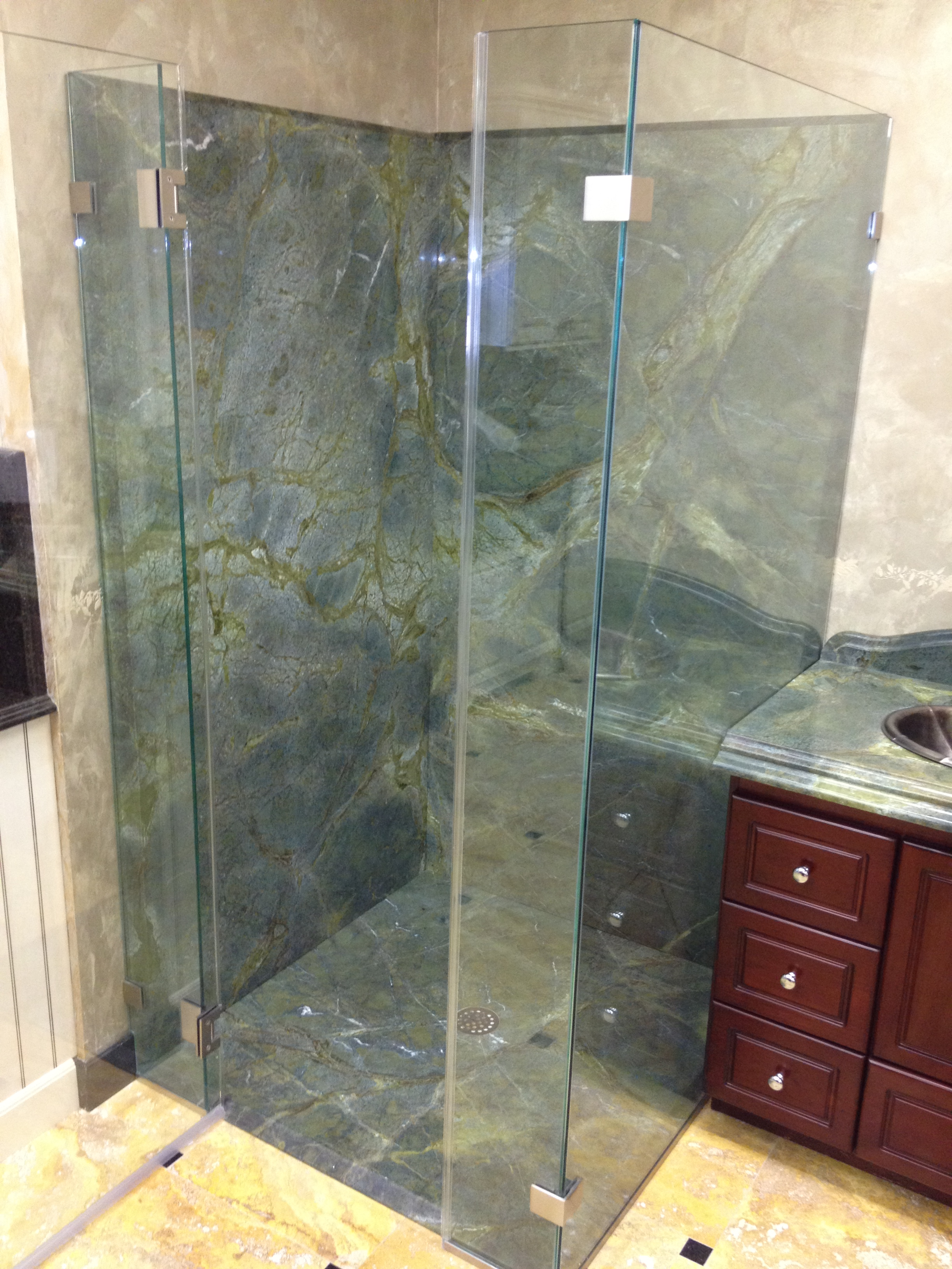 Custom Fabricated Full Slabs for Shower Walls in Verde Vecchio - New ...